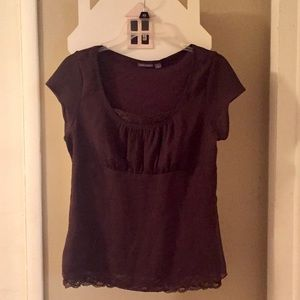 Apt 9 stretch Brown Too Lace Neckline L NWOT